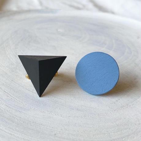 三角形&サークルイヤリング(セット) ブラック/ブルー