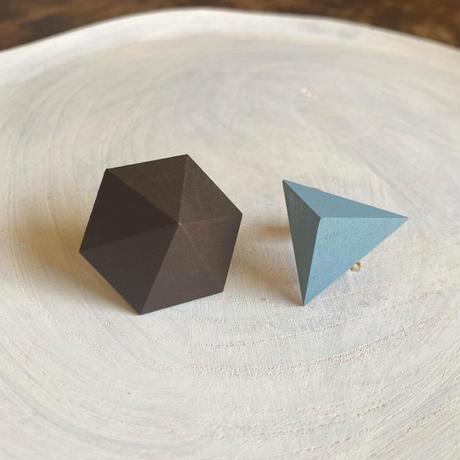 六角形&三角形イヤリング(セット) ブラウン/ブルー