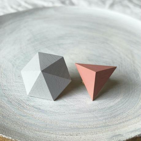 六角形&三角形イヤリング(セット) オートミール/コーラルピンク