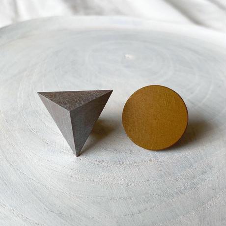 三角形&サークルピアス(セット) シルバー/キャラメルブラウン