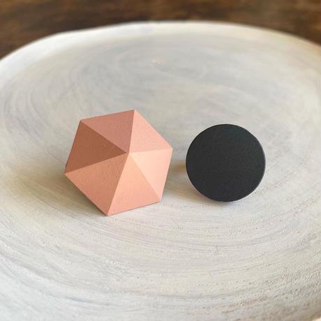 六角形&サークルイヤリング(セット) ピンク/ブラック