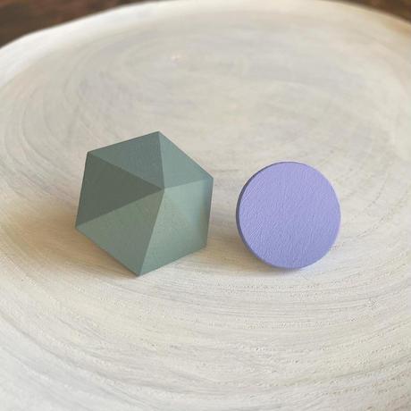 六角形&サークルピアス(セット) エッグシェルグリーン/アイリス