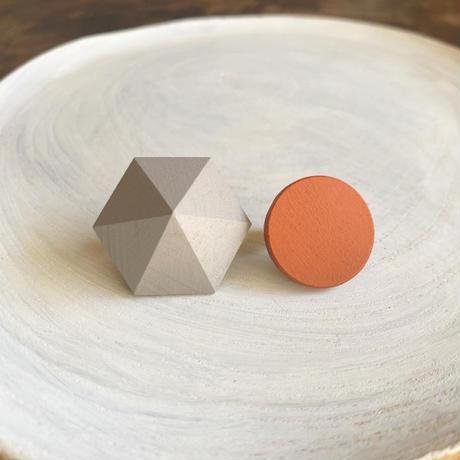 六角形&サークルイヤリング(セット) グレー/オレンジ