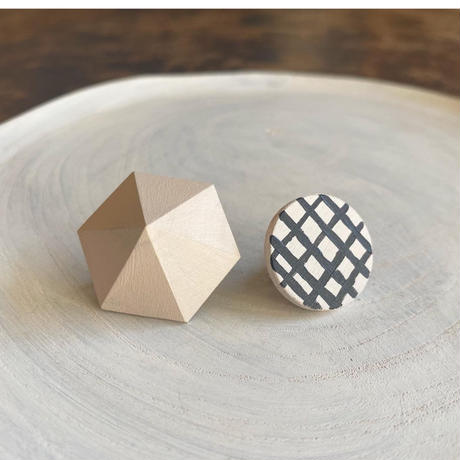 六角形&サークルイヤリング(セット) パウダーピンク/ホワイト(チェック)