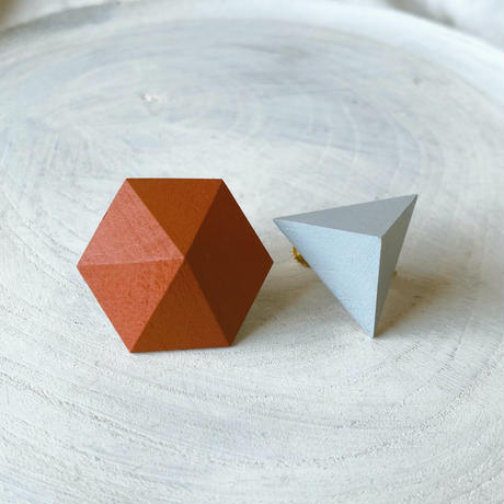 六角形&三角形イヤリング(セット) オレンジ/アイスブルー