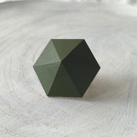 六角形イヤリング オリーブグリーン