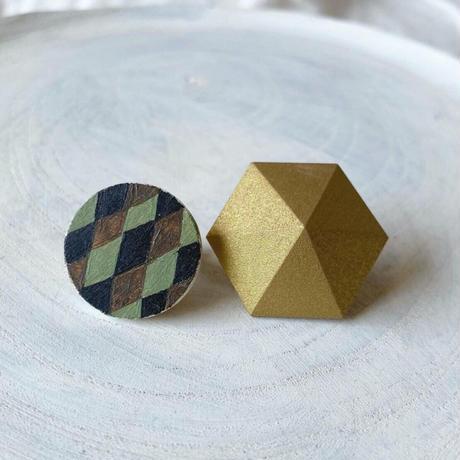 サークル&六角形イヤリング(セット) ダイヤ柄/ゴールド