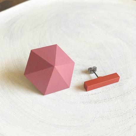 六角形&バーピアス(セット)オールドラズベリー/オレンジ