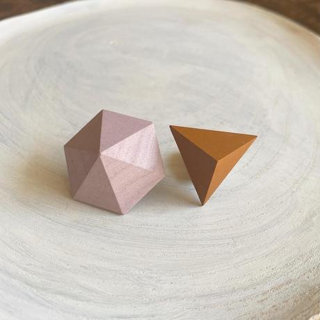 六角形&三角形ピアス(セット) サクラピンク/キャロット