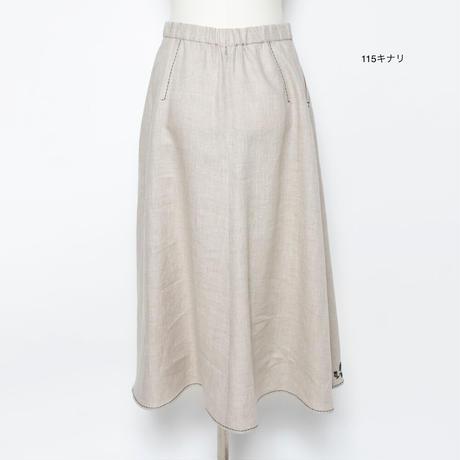フラワーモチーフ 刺繍スカート(麻素材)5206040E