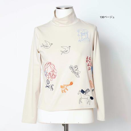 モチーフ刺繍 Tシャツ(ハイネック)5205216A