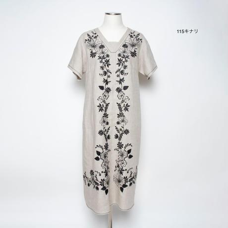 フラワーモチーフ 刺繍ワンピース(麻素材)5206042G