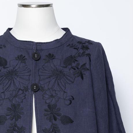 フラワーモチーフ 刺繍ジャケット(麻素材)5206041C