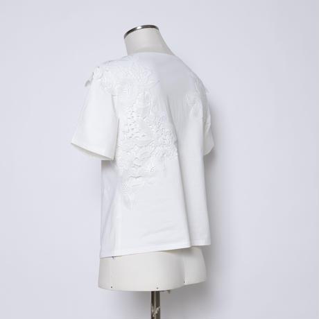 レース付き コットンストレッチTシャツ 5206011A