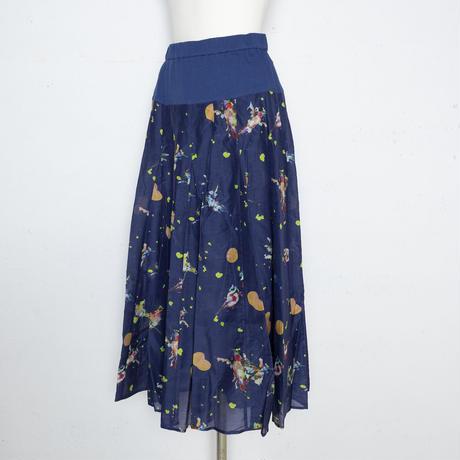 小鳥柄 デジタルプリント スカート 5206411E