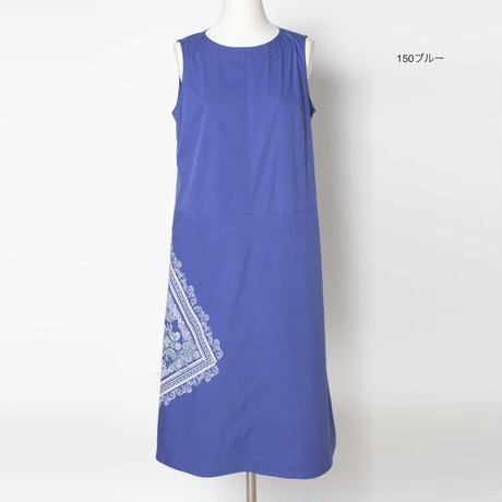 四角スカーフ柄プリント x 刺繍 OP 7205402G