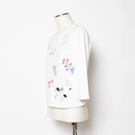 モチーフ刺繍 Tシャツ(丸首)5205215A