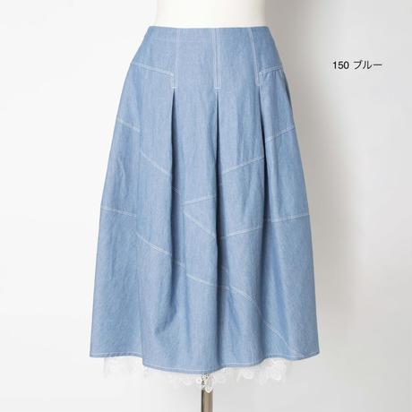 レース付き刺繍デニムスカート5205021E