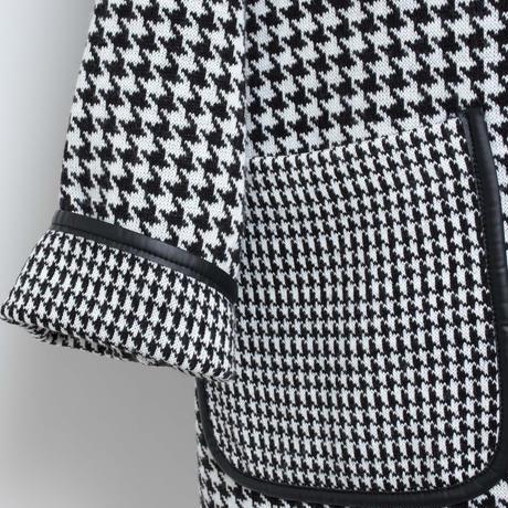 フリンジ付き 千鳥格子 ニットコート(イタリア製)
