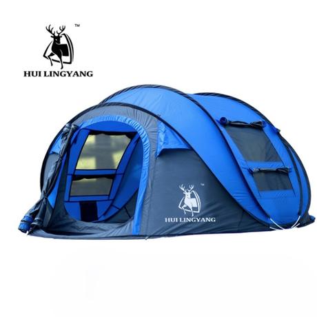 HUI LINGYANG   3-4人自動テント  女性でも簡単  キャンプ  ハイキング  防水  EO02
