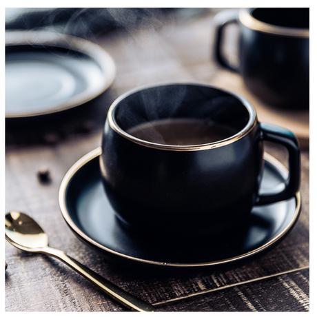 マグカップ  ソーサー  セット  コーヒーカップ  MUZITY  ブラック  磁器  EK23
