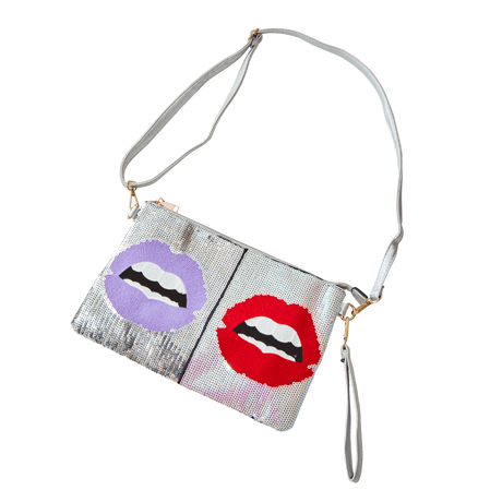 sequins  lip  bag
