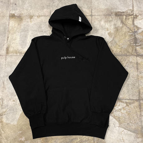 pulp house Embroidery hoodie (BLK)