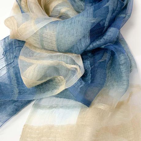 藍染:天蚕糸ストール(グラデーション)