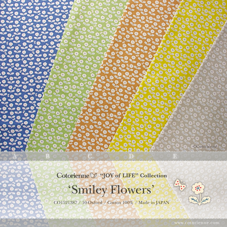 Smiley Flowers -indigo blue (CO152138 A)しっかり厚手生地