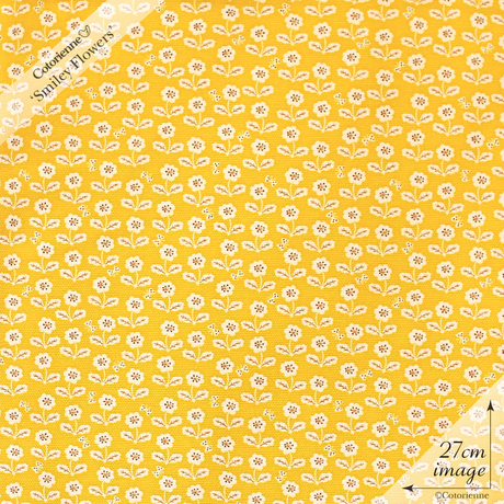 【残り110cm!】Smiley Flowers -mustard (CO152138 D)