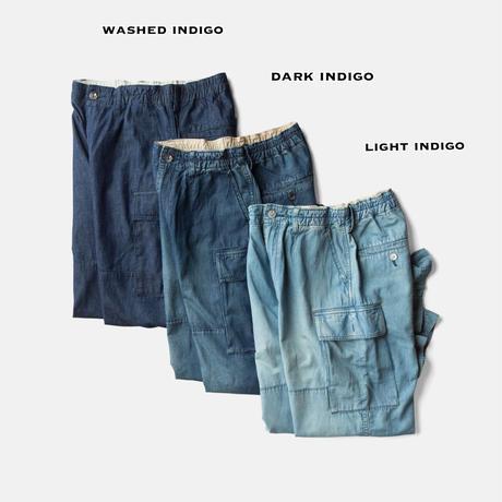 C.T.L COMFORT LINEN DENIM CARGO PANTS - WASHED INDIGO