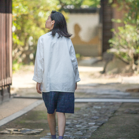 COMFORT SHORTS PANTS-BINGO FUSHIORI / KOMAKA-MIDARE INDIGO