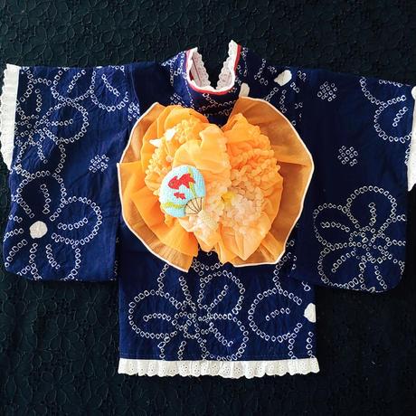 有松絞り 紺地 花柄 浴衣