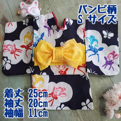 紺地 カラフル浴衣 バンビ柄 お花柄