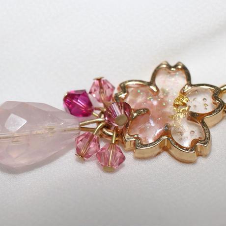 桜&ローズクォーツのネックレス