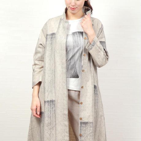 十字織り綿麻コート