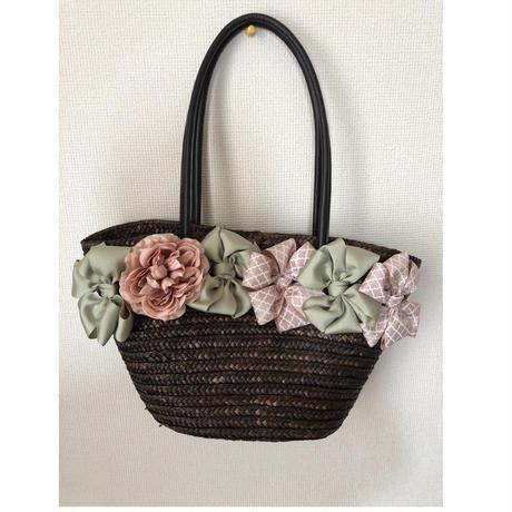 花とリボンの肩掛けかごバッグ☆B-03