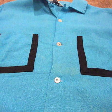 ビンテージ50's●PILGRIMレーヨンループカラーシャツ水色size M●200613s7-m-sssh-lpピルグリムトップス古着メンズUSAライトブルー