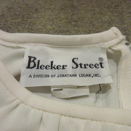 ビンテージ70's●Bleeker Streetノーカラーギャザーワンピース生成りsize 12●210313f5-w-lsdrs古着レディースロングドレスレトロオフホワイト