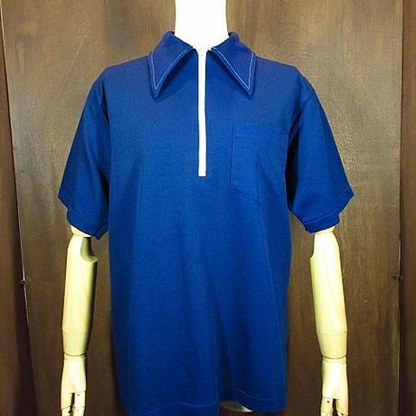 ビンテージ70's●NAT NASTチェーンステッチ半袖ボウリングポロシャツ紺M●200602n4-m-plsh 1970sメンズニットポリエステルボーリング
