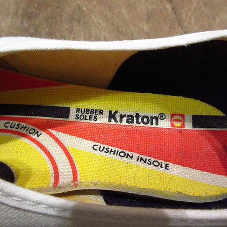 ビンテージ70's●DEADSTOCK Kratonレディースキャンバススニーカー白7●210413n8-w-snk-235cm 1970sデッドストックホワイト生成り