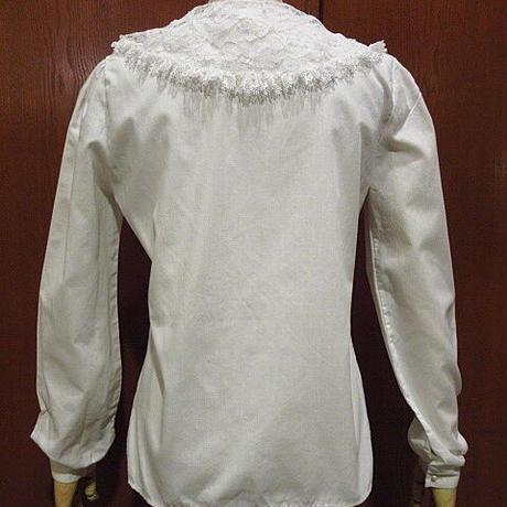 ビンテージ80's●Leslie ann Fashionsレディースフラワーレース付きプリーツブラウス白size S●201226f6-w-lsshトップス古着長袖シャツUSA製