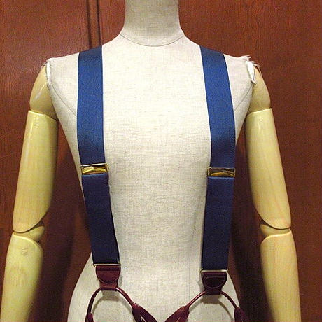 ビンテージ●ボタン留めサスペンダー紺●210102f9-ssp古着雑貨ファッション小物USA