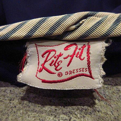 ビンテージ40's50's●Rite-fit七分袖レーヨンワンピース紺●210222s9-w-lsdrs 1940s1950sドレスレディース女性用ネイビーブルー古着