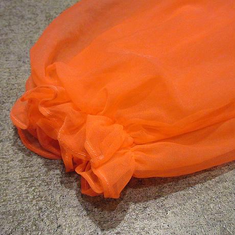 ビンテージ~70's●Lisetteシースルーネグリジェ橙S●210421s1-w-lsdrs 60s1960s1970sナイトドレスパジャマ羽織
