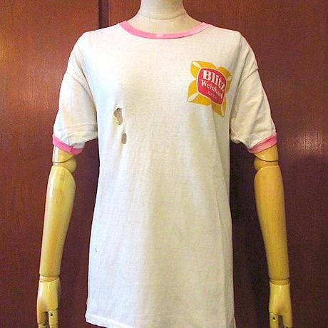 ビンテージ60's70's●Blitz Weinhard BEERリンガーTシャツ白×ピンクsize L●200824s4-m-tsh-otビール古着トップス半袖コットンUSAメンズ