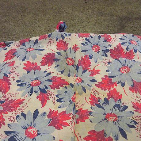 ビンテージ40's●リボン付きレース切り返し花柄コットンノーカラーワンピース●210503f6-w-ssdrsレディースドレス半袖フラワーパターン