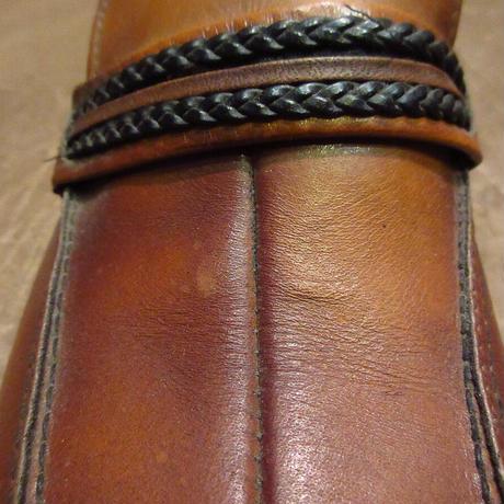 ビンテージ80's●DEADSTOCK WEYENBERGレザーローファー茶9 1/2 B●201126n6-m-lf-27cm 1980sデッドストック革靴メンズ