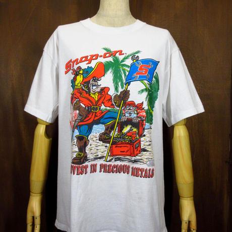 ビンテージ80's●Snap-On プリントTシャツ白 L●210512n1-m-tsh-ot スナップオン米国製半袖トップス古着