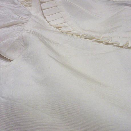 ビンテージ70's●レディースノーカラーナイロンプリーツブラウス白●210321s1-w-lssh古着女性用USAホワイト長袖シャツトップス